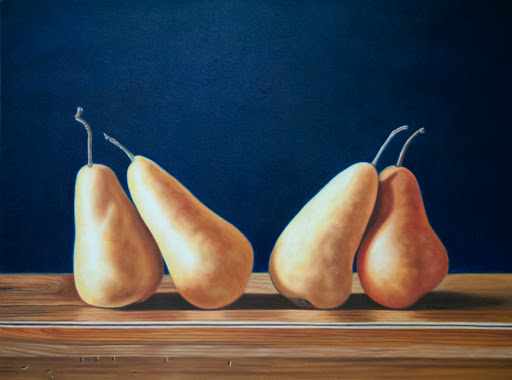 "Four Pears on Wood 30 by 40"" oil on canvas. Artist Judy Prisoc"