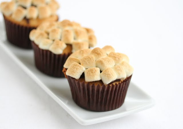 close-up photo of three S'more Cupcakes