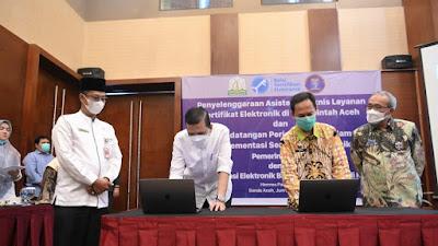 Pemerintah Aceh dan BSSN RI Teken Kerja Sama Terkait Sertifikat dan Tanda Tangan Elektronik