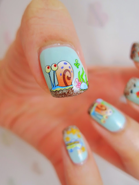 SpongeBob Under the Sea Water Decal Nail Art BLE1605