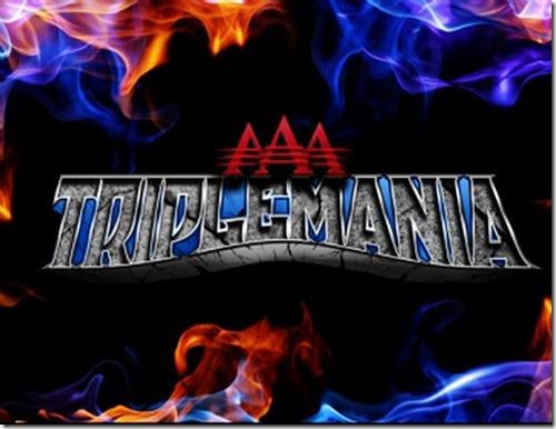 Logo de Triplemania con fuego alrededor
