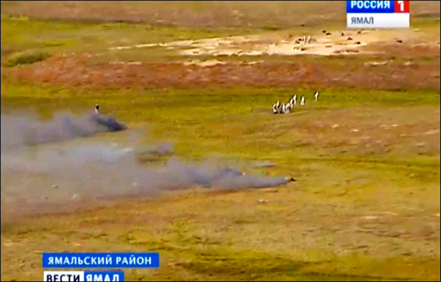 Aerial view of burning reindeer carcasses. The Russian defence ministry deployed biological and chemical warfare troops to destroy infected carcasses of reindeer, during the anthrax outbreak of Summer 2016. Photo: Vesti.Yamal, press service of Yamalo-Nenetsk Governor's Office