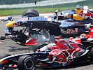 Vitantonio Liuzzi (ITA/ Scuderia Toro Rosso) and Christian Klien (AUT/ Red Bull Racing) in action involved in a crash