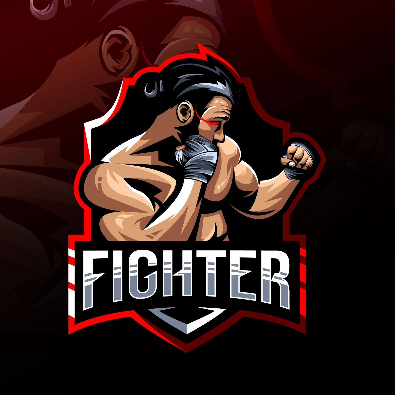 Fighter Mascot Logo Esport Free Download Vector CDR, AI, EPS and PNG Formats