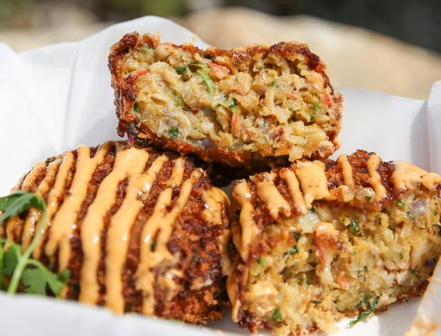 close-up photo of Cap 'N' Crunch Crab Cakes