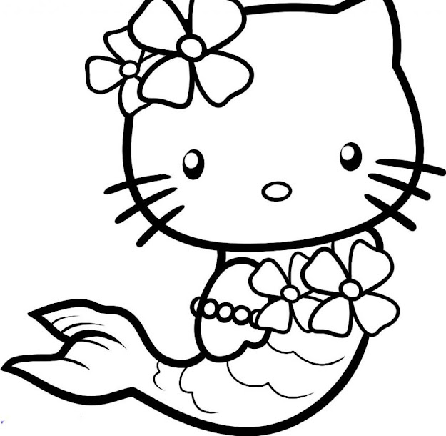 Awesome Hello Kitty Mermaid Coloring Pages With Hello Kitty Coloring Paper