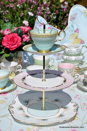vintage pale pink and duck egg blue tiered cake stand