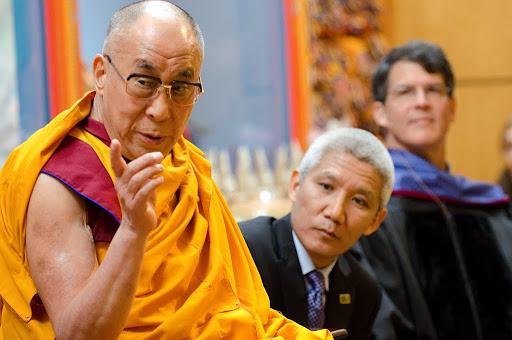 His Holiness the Dalai Lama speaking at Maitripa College with Thubten Jinpa and Dr. Eban Alexander, Portland, Oregon, U.S., May 10, 2013. Photo by Marc Sakamoto.