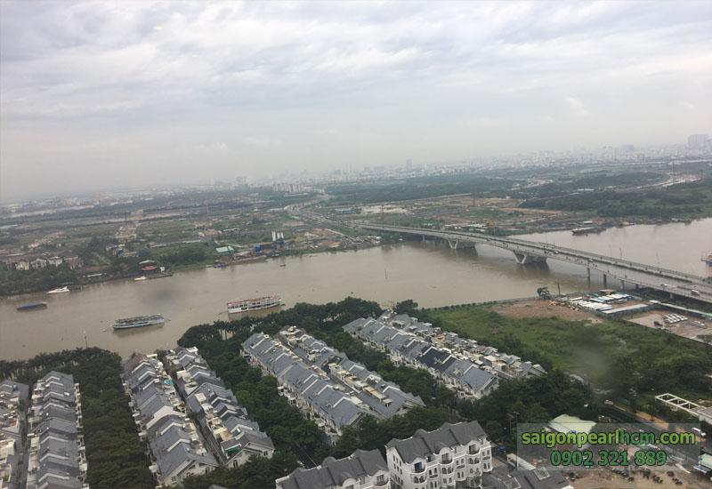 view đẹp khu biện thự saigon pearl phía dưới và sông SG