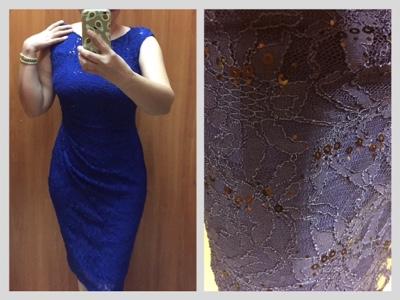 Vestido de encaje color azul rey