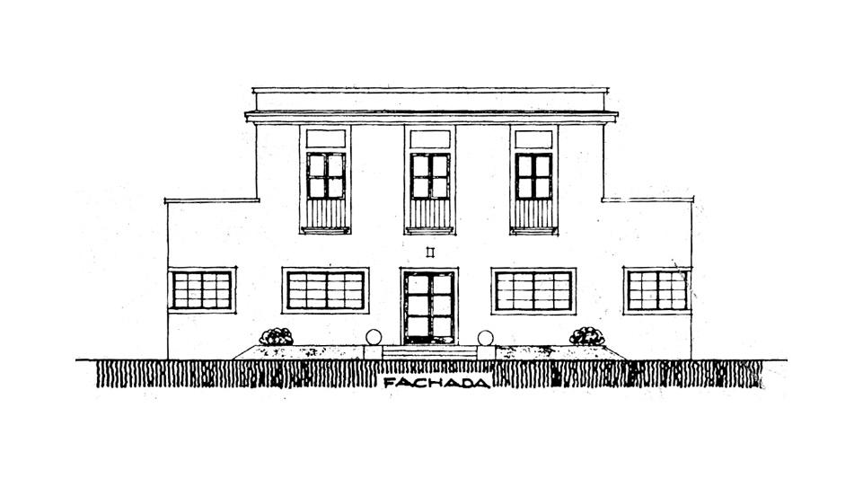 planta arquitetônica de fachada