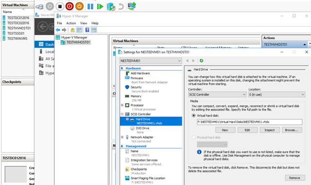 How to configure Nested Virtualization on Hyper-V 2016