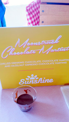 Portland Monthly Country Brunch 2016 - Sunshine Dairy booth offering two chocolate beverages, this one is the Moonstruck Chocolate Martini with chilled drinking chocolate and hazelnut espresso