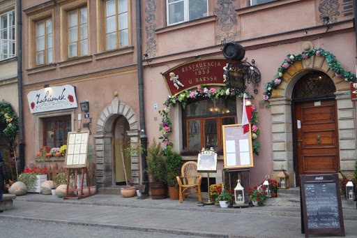 Beautiful restaurants at Warsaw Old Town in Poland