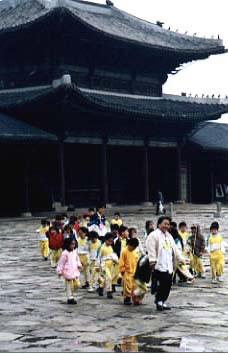 Kids and teacher at Kyongbokkung Palace