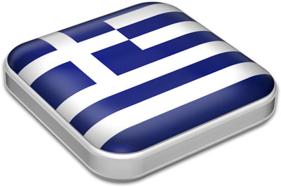 Flag of Greece with metallic square frame
