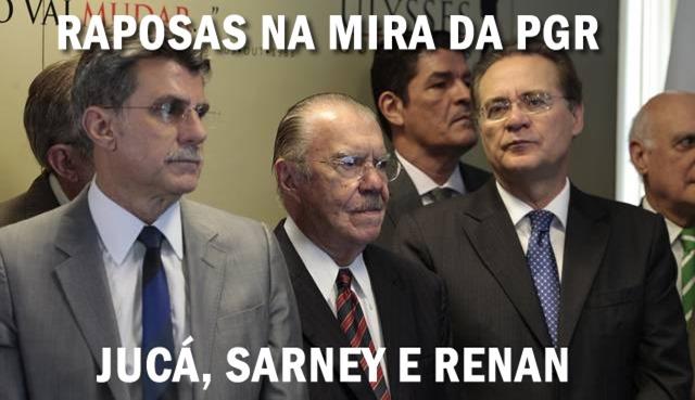 Janot pede novo inquérito contra Renan, Jucá e Sarney por manobras criminosas