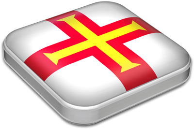 Flag of Guernsey with metallic square frame