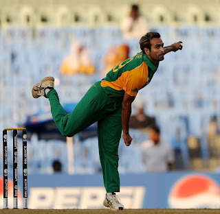 Imran Tahir in his spin style