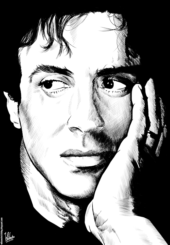 Ink drawing of Sylvester Stallone, using Krita 2.4.