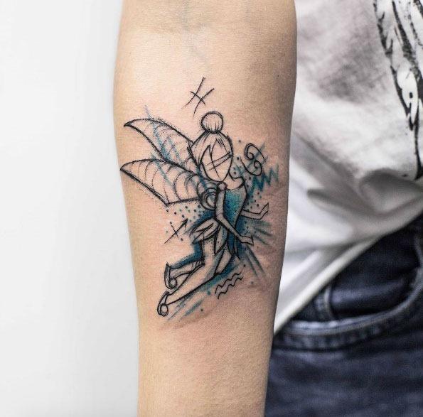 Este esboço estilo teal-infundido tinker bell tatuagem