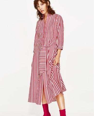 Vestido largo rayas rojas y blancas