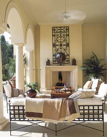 Outside garden lake sun porch pergola outdoor room patio for Outdoor room with fireplace