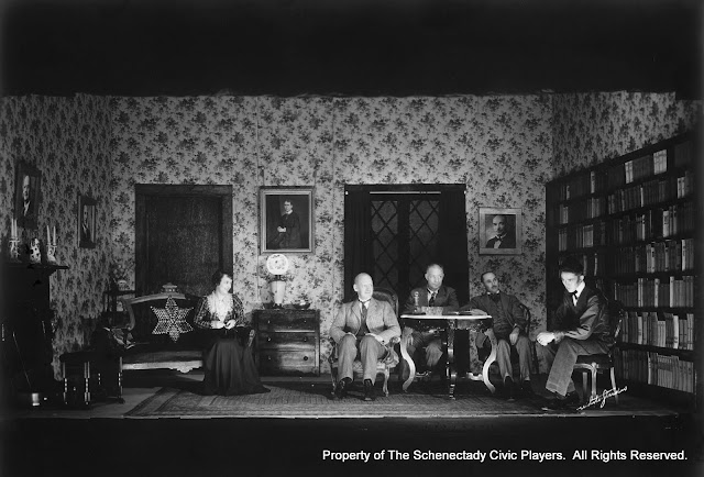 Mabel Hearon Hodgkins, J.G.E. Wright, Robert B. Stewart, Andrew Gray and Alexander MacDonald in WHAT EVERY WOMAN KNOWS - November 1933.  Property of The Schenectady Civic Players Theater Archive.