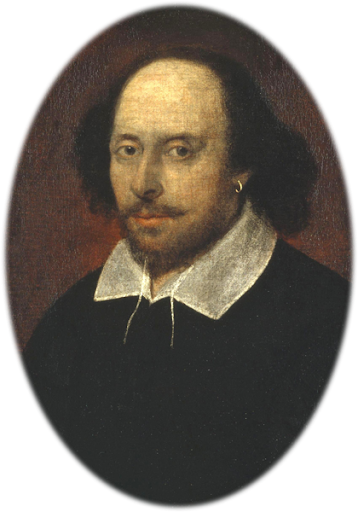 """William Shakespeare  This was long thought to be the only portrait of William Shakespeare that had any claim to have been painted from life, until another possible life portrait, the Cobbe portrait, was revealed in 2009. The portrait is known as the  'Chandos portrait' [ <a href=""""http://en.wikipedia.org/wiki/Cobbe_portrait"""">http://en.wikipedia.org/wiki/Cobbe_portrait</a> ] after a previous owner, James Brydges, 1st Duke of Chandos. It was the first portrait to be acquired by the National Portrait Gallery in 1856. The portrait is oil on canvas, feigned oval, 21 3/4 in. x 17 1/4 in. (552 mm x 438 mm), Given by Francis Egerton, 1st Earl of Ellesmere, 1856, on display in Room 4 at the National Portrait Gallery, London, England, United Kingdom.[1]  Source:  Wikipedia, the free encyclopedia - <a href=""""http://en.wikipedia.org/wiki/Cymbeline"""">Cymbeline</a>"""