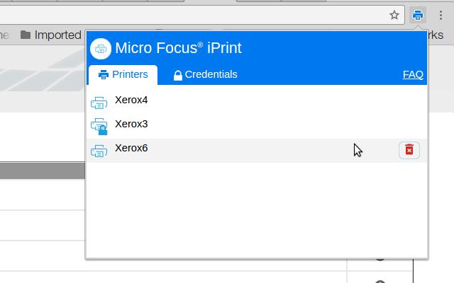 Micro Focus iPrint chrome extension