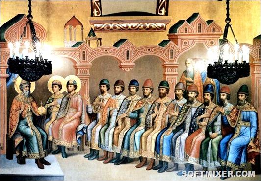 Великий князь Владимир Святославич с сыновьями. Роспись Грановитой палаты Московского Кремля. 1882