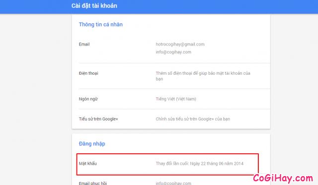 trang quản lý tài khoản gmail, mật khẩu gmail