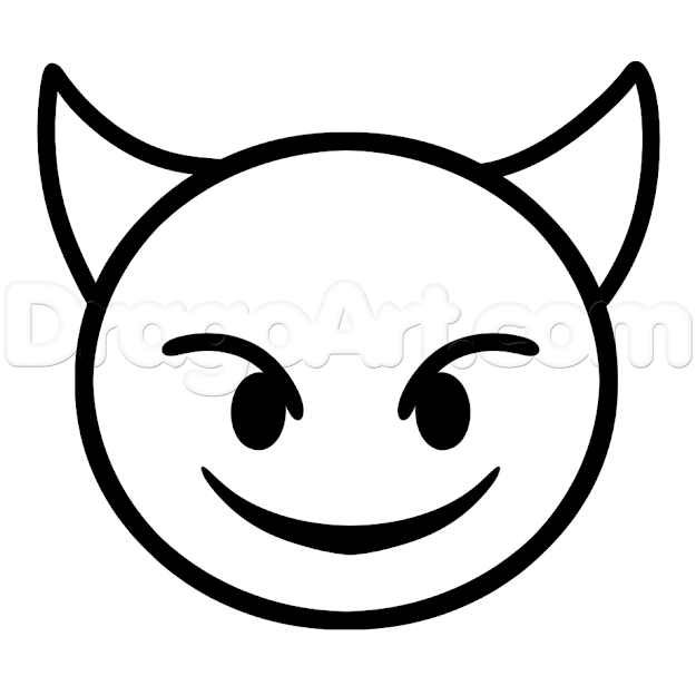 Emoji Faces Devil Coloring Pages