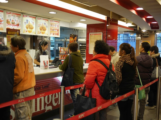 people in line at a Hong Kong KFC
