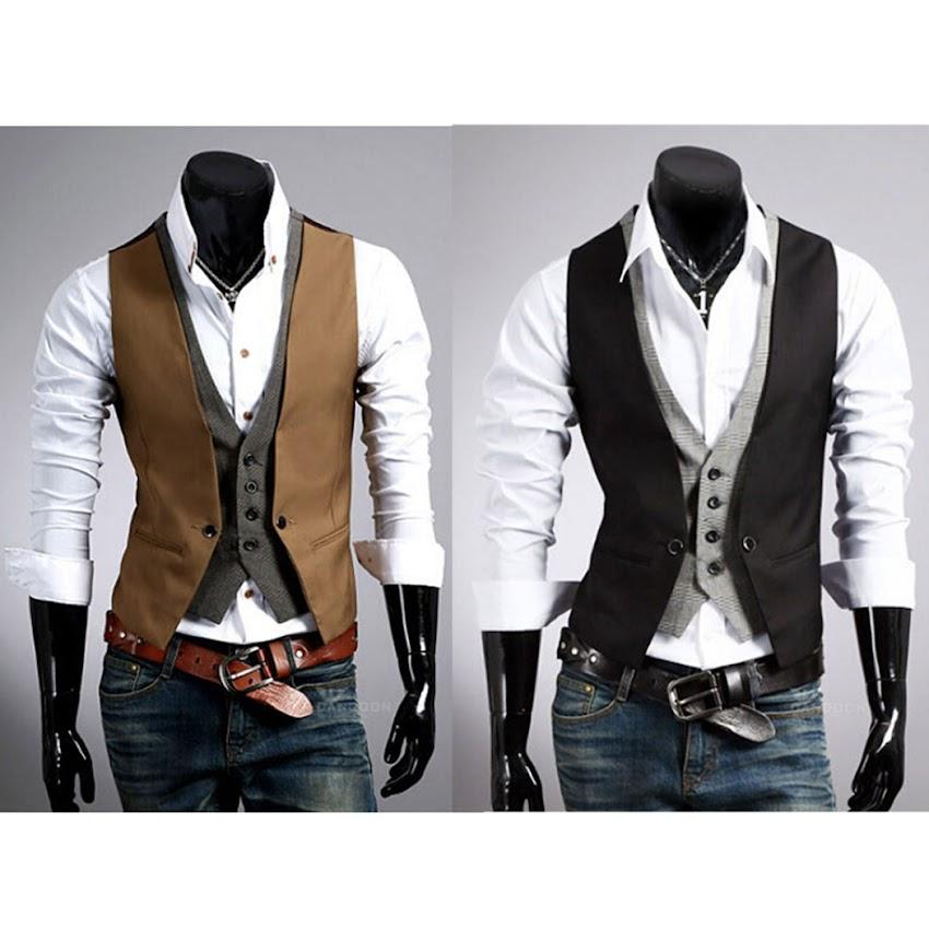 mode gilet veston veste costume sans manches slim double couches homme branch ebay. Black Bedroom Furniture Sets. Home Design Ideas