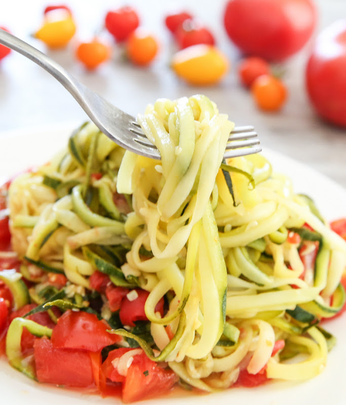 photo of a forkful of One Pot Zucchini Noodles with Tomato Sauce