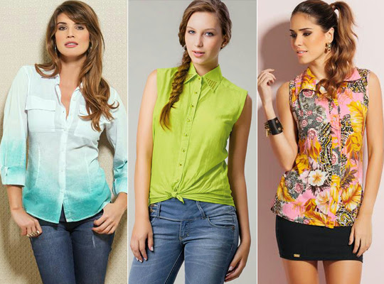 Camisas coloridas e estampadas