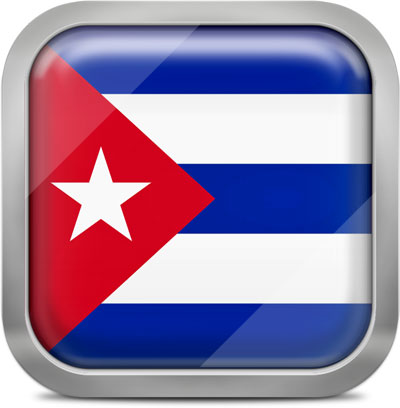 Cuba square flag with metallic frame