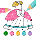 Glitter Dress Coloring Pages for Girls icon