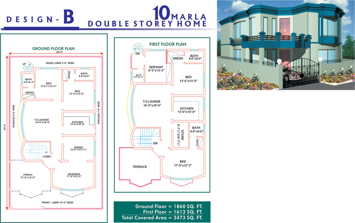 house plan 10 marla arts