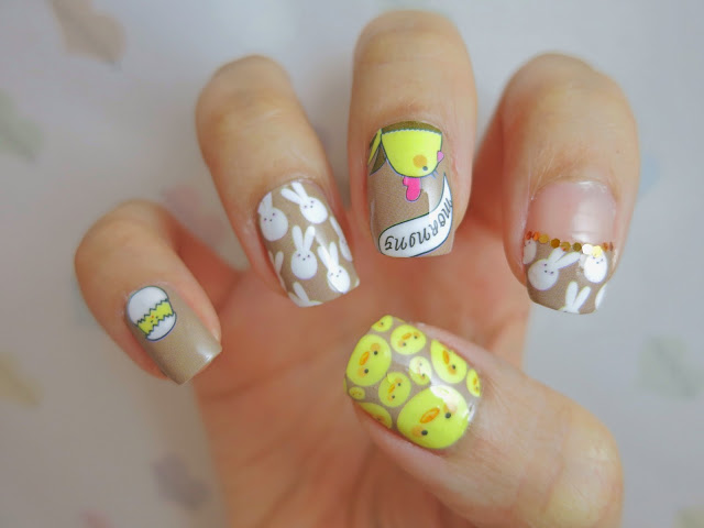 Easter Bunny And Chicks Nail Wrap Nail Art A1033 Chichicho