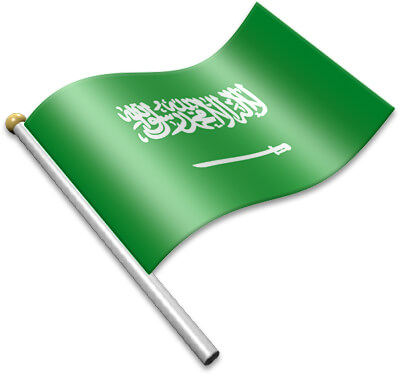 The Saudi Arabian flag on a flagpole clipart image