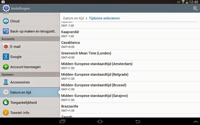 Tijdzone selecteren van Android smartphone of tablet