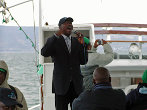 Photo: In the middle of the Sea of Galilee, the Nigerians sang several hymns.  They were visiting Israel for about a week.