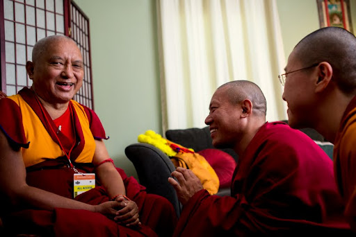 Lama Zopa Rinpoche and Geshe Tenley after His Holiness the Dalai Lama's visit to Kurukulla Center, Medford, Massachusetts, U.S., October 2012. Photo by Kadri Kurgun.