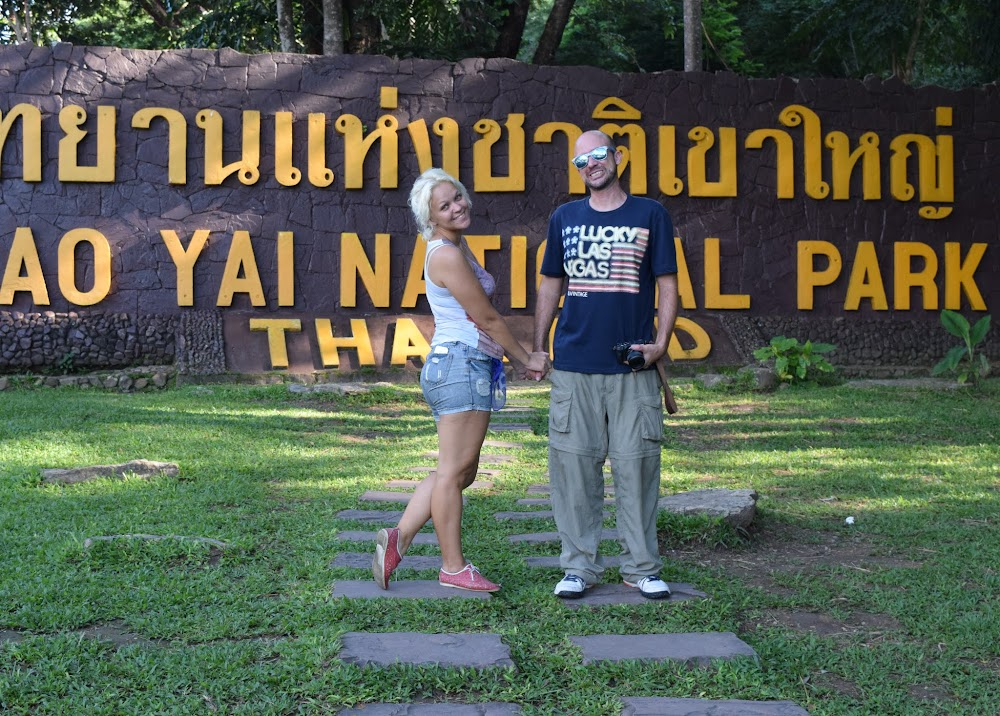 Finally, after 3 extended trips in Thailand (2001-03, 2008, 2016), I make it to the famous Khao Yai National Park for the first time!  We took a train to the small town of Pak Chong, about 3 hours away.  Then we found our way to the songthaews to the park entrance, and eventually ended up here.  We are greeted by park rangers informing us that it's a ridiculous 400 Baht-per-person fee to enter the park (it's 10 times more for foreigners than for Thai people), but what the hell, we came all the way here so we have to pay it.