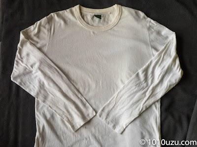 全然黄ばみが取れていない長袖Tシャツ