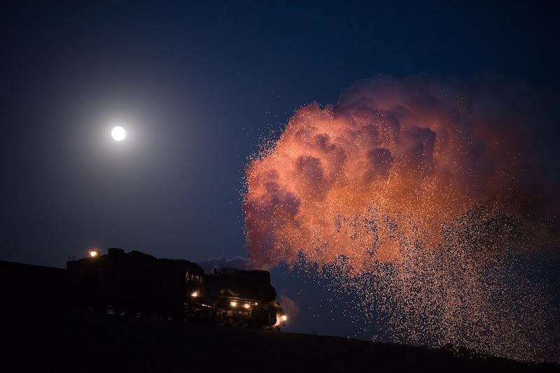 180101 満月と三道嶺の蒸機