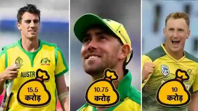 T20 ऑक्शन: किस टीम ने खरीदे कौन से खिलाड़ी, किसकी  लगी लॉटरी, देखें पूरी लिस्ट -    पैट कमिंस ने तोड़े नीलामी के रिकॉर्ड, ऑक्शन इतिहास के दूसरे सबसे महंगे खिलाड़ी बने, मौजूदा T20 ऑक्शन में अब तक 3 खिलाड़ी सबसे महंगे दाम में बिके, ऑस्ट्रेलिया के पैट कमिंस को 15.50 करोड़ में कोलकाता, मैक्सवेल को 10.75 करोड़ में पंजाब ने और क्रिस मोरिस को 10 करोड़ में बेंगलुरु ने खरीदा.     T20 ऑक्शन:  वेस्टइंडीज के तेज गेंदबाज शेल्डन कॉटरेल भी करोड़पति बन गए हैं. शेल्डन कॉटरेल को 8.5 करोड़ रुपये में पंजाब ने खरीदा है, ऑस्ट्रेलियाई तेज गेंदबाज नाथन कूल्टर-नाइल को मुंबई ने 8 करोड़ रुपये में खरीदा. लेग स्पिनर पीयूष चावला को 6.75 करोड़ रुपये में चेन्नई ने खरीदा वहीं जयदेव उनादकट को राजस्थान ने 3 करोड़ और विकेटकीपर  एलेक्स कैरी को दिल्ली ने 2.40 करोड़ रुपये में अपनी टीम में  शामिल किया.