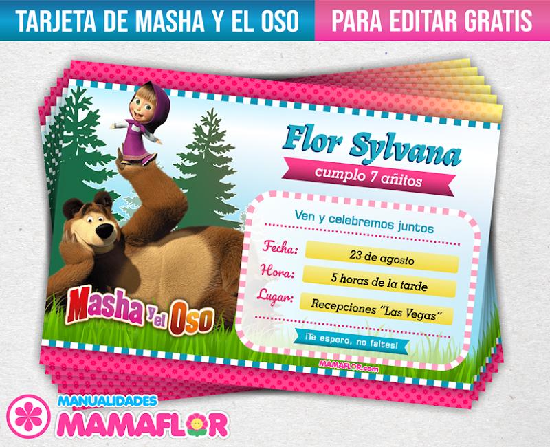Invitaciones De Masha Y El Oso Tarjetas Para Editar E